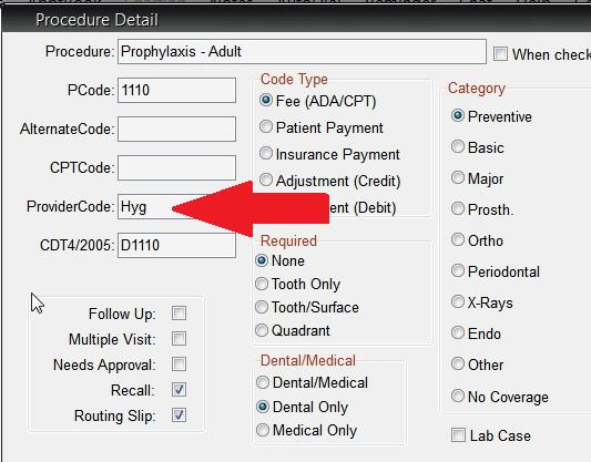 Practice Management Software - Assign default provider for procedure